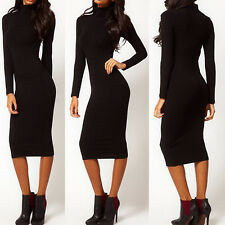 NEW Women High Neck Casual Long Sleeve Bodycon Evening Party Cocktail Mini Dress