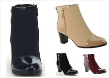 Brand New Women's Fashion Qulit Zip Up Med Chunky Heel Dress Ankle Bootie Shoes