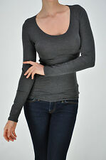 Scoop-neck long sleeve Women's T-shirts in many colors cotton spandex stretch