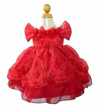 New Baby Infant Girls Red Organza Princess Dress Christmas Party Pageant 3395
