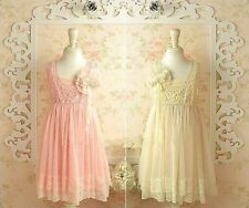 NEW Girls Toddler Vintage Pink Cream Lace Party Wedding Flower Girl Dress
