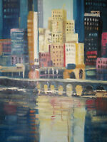 new york abstract buildings oil painting on canvas modern art cityscape original