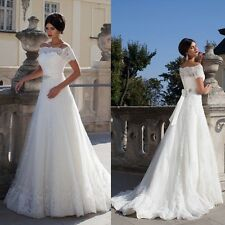 New Short Sleeve Wedding Dress Bridal Gown Formal Gown Prom Party Pageant Custom
