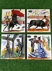 Set Of 4 Hand Painted Ceramic Spanish Made Tiles Art Trivets Hot Plate