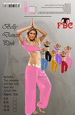 BELLY DANCER BOLLYWOOD ARABIAN PRINCESS LADIES FANCY DRESS COSTUME - PINK 12-14
