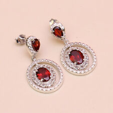 ORIGINAL RUBY WITH CZ 92.5% SOLID STERLING SILVER EARRING