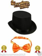 Willy Wonka Charlie Chocolate Factory Kids Fancy Dress Topper Top Hat Bow Tie