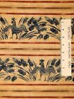 Rustic Retro Rooster Stripe Beige Blue Red Maywood Studio Cotton Fabric 1.97Yd