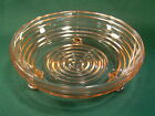 """Anchor Hocking Pink Manhattan 3 Footed 6-1/4"""" Candy Dish ~ 1938-1943"""