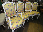Set/6 White Carved Dining Chairs,Chairs,Set of Dining Chairs, Cheery Print 259A