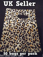40+ SMALL LEOPARD ANIMAL SPOTTED PRINT FASHION PLASTIC CARRIER BAGS 130mmx130mm