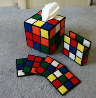 """RUBIK'S CUBE TISSUE BOX COVER & COASTERS WITH HOLDER """"THE BIG BANG THEORY"""" RUBIX"""