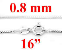 """STERLING SILVER ITALY BOX CHAIN NECKLACE 16"""" 0.8mm"""