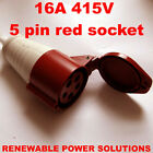 16 AMP 415V INLINE 5 PIN SOCKET RED 3 PHASE SF-215 16A