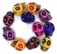 14x18mm Carved Colorful Turquoise Skull Beads 11pcs