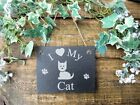 I Love My Cat Slate Garden Wall Plaque Sign