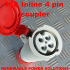 16 AMP 415V INLINE 4 PIN SOCKET RED 3 PHASE 16A IP44 MACHINE WORKSHOP SITE etc