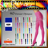 "Opaque Tights | 40 Denier Coloured Opaque Tights | One Size 36"" - 42"" (UK 8-14)"