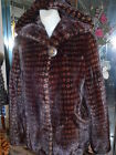 NEW Mahogany MINK FUR Bomber Style Jacket Double Fur HOOD Printed Design FUR