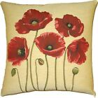 """NEW 18"""" TAPESTRY CUSHION COVER (5 POPPIES) 4866, BEAUTIFUL BELGIAN TAPESTRIES"""