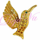 NEW CRYSTAL YELLOW HUMMING BIRD BROOCH PIN MADE WITH SWAROVSKI ELEMENTS