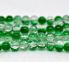 50 x Green & Clear Dual Colour Crackle Glass Beads Craft - 6mm - LB12211