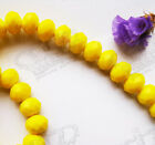 72pcs 8mm Opaque Brght Yellow Faceted Crystal Glass Rondelle Beads