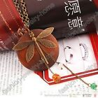 Cute Dragonfly Green Orange Crystal Charms Chain Necklace