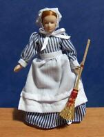 1/12 Sc. Dolls House Scullery Maid Doll & Broom Parlour Miniatures NEW LGW