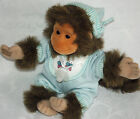 "Hosung 11"" MONKEY BLUE PAJAMAS HAT CAP With PACIFIER Plush Chimp Bib Velcro Hand"