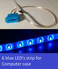 One 4 inch long Blue LED strip 6 LEDs total Self-adhesive for PC Computer case