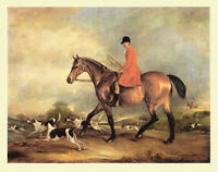 FOXHOUND HUNTER HORSE DOG FINE ART PRINT Captain Garth on his Bay Hunter (Small)