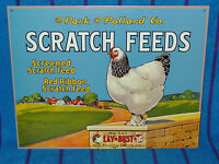 New Tin Sign- Chicken Scratch Feeds- Park & Pollard Co. Red Ribbon-Made in USA