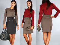 Elegant Skirt Military Style High Waist with Buttons One Size 8-12 FA54