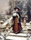 ROUGH COLLIE SHEEPDOG VICTORIAN DOG ART PRINT CHRISTMAS SNOW SCENE