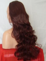 Half Wig Fall Clip In Hair Piece Curly Long 3/4 wig fall Red Brown synthetic X18