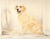 GOLDEN RETRIEVER DOG FINE ART LIMITED EDITION PRINT Rare SOLD OUT item # 850/850