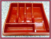 LARGE RED PLASTIC CUTLERY HOLDER TRAY DRAWER ORGANISER 5 SLOT WHITEFURZE QUALITY