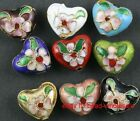 Free 6pcs mixed cloisonne heart spacer beads 18mm