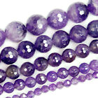 "Faceted Natural Purple Amethyst Gemstone Round Beads15"" 4mm 6mm 8mm 10mm 12mm"