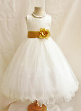 NEW IVORY/IVORY BRIDAL PARTY WEDDING BIRTHDAY RECITAL PAGEANT  FLOWER GIRL DRESS