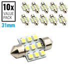 10X 6000K White SMD 9-LED Map/Dome Interior Lights Bulbs 31MM Festoon
