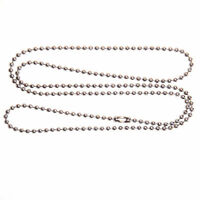 """100 Aluminum 24"""" inch BALL CHAIN NECKLACES 2.4MM Bead #3 size Dog Tag Chains lot"""