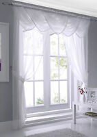 macrame edged white voile choice of curtain panel or swag