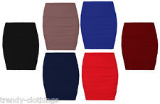 New Womens Bandage Bodycon Skirt Ladies Ribbed Panel Stretch Mini Party Skirt