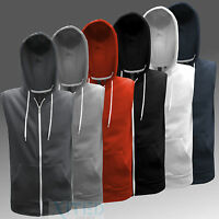 MENS SLEEVELESS HOODIE - ZIP UP JACKET - 6 COLOURS - XS S M L XL XXL - SOUL STAR