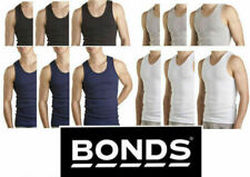 BONDS MENS 3 X PACK OF CHESTY COTTON SINGLETS TANK SINGLET WHITE NAVY BLACK GREY