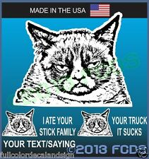 Grumpy Cat Decal Sticker With Optional Funny Sayings Your Truck Car Sucks