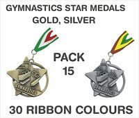 PACK OF 15 (£1.65 each) Gymnastics Star Medals & Ribbon 60mm Metal SM20-MR1