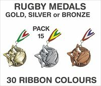PACK OF 15 (£1.30 each) Rugby Star Medals & Ribbon 60mm Metal Ref: SM23-MR1